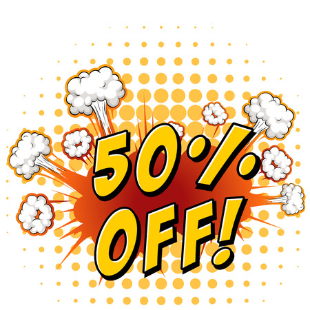 50 off: Sign saying 50% off with background Illustration