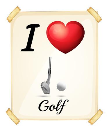heart clipart: I love golf banner