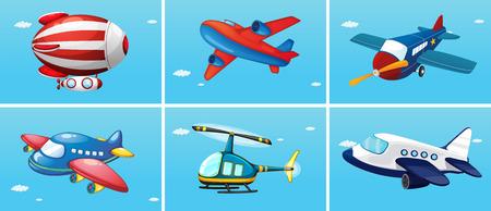 avion caricatura: seis tipos diferentes de aeronaves
