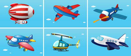 airplane cartoon: six different types of aircrafts