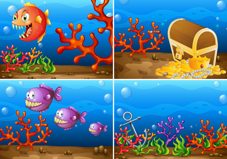 Four scenes of underwater lives Vector