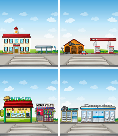 four scenes of stores at day time Vector