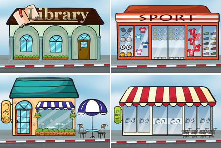 sidewalk cafe: shops in the city Illustration