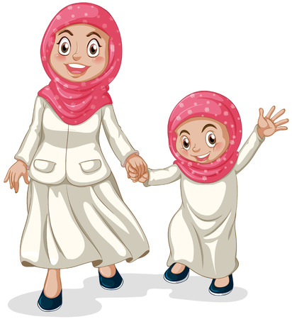 children: Woman and a girl muslims holding hands Illustration