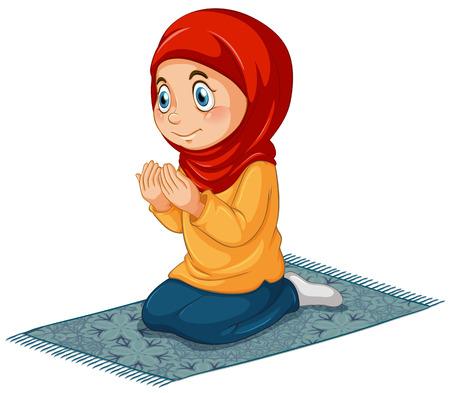 Vrouwelijke moslim bidden Vector Illustratie