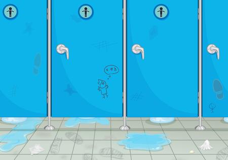 Toilet for men very dirty Illustration