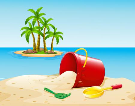 cartoon beach: Bucket on the sand near the ocean