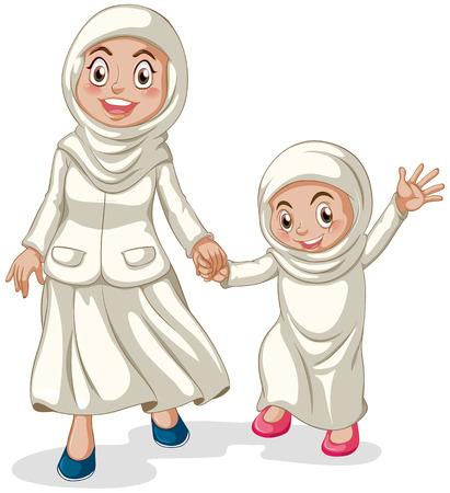 femmes muslim: Femme et fille musulmans se tenant la main Illustration