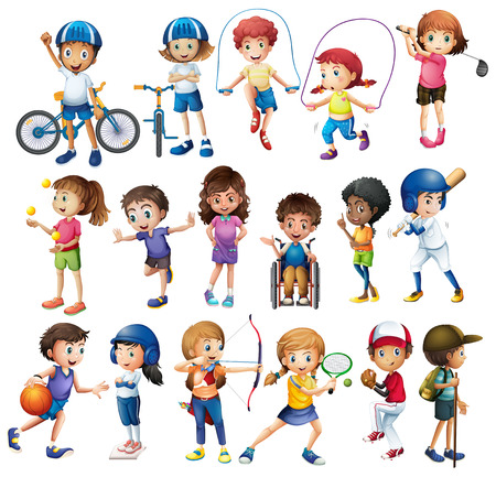 Jungen und Mädchen, die verschiedene Sportarten