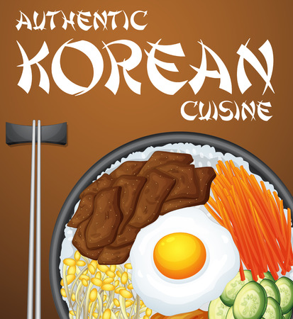 cooked rice: Authentic Korean dish and chopsticks Illustration