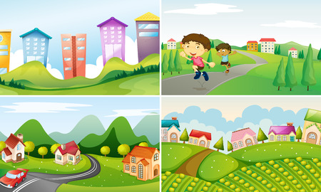 four scenes of city and countryside Vector