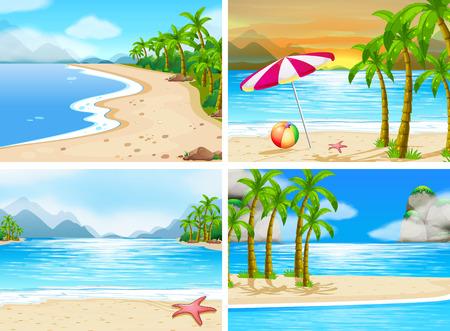 sol caricatura: cuatro escenas de playas