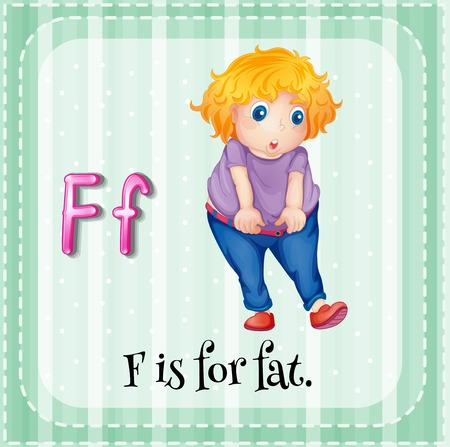 phonetic: Alphabet F is for fat Illustration