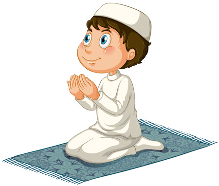 Male muslim praying Ilustrace