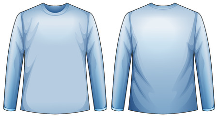 blue shirt: Long sleeves blue shirt with front and back view