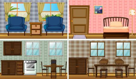 cocina caricatura: Cuatro habitaciones de la casa