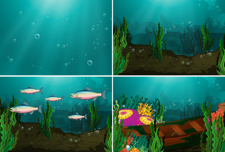 Four underwater scenes Vector