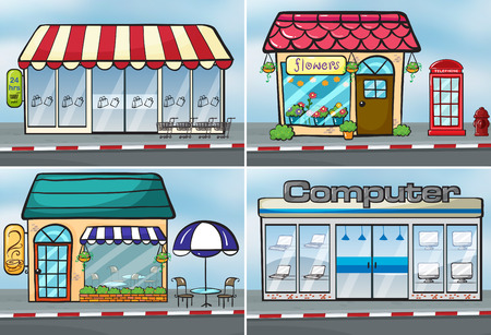 outdoor dining: Four different shops in the city Illustration