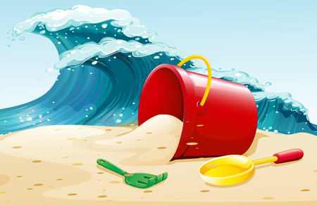 Ocean waves and bucket of sand Illustration