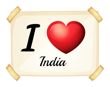 posted: I love India sign taped on the wall Illustration