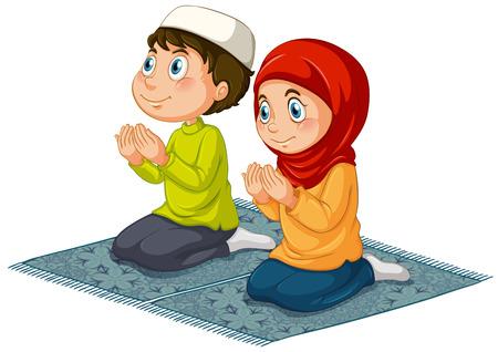 カーペットの上祈っている 2 人のイスラム教