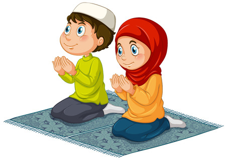 kids costume: Two muslims praying on the carpet Illustration