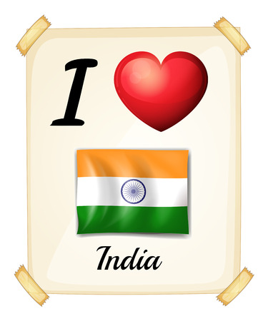 posted: I love India sign posted on the wall Illustration