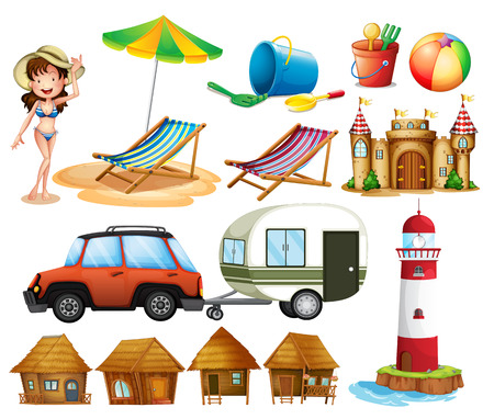 castle cartoon: Different beach items and the tourist