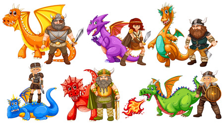 Viking tribes and many dragons Vector