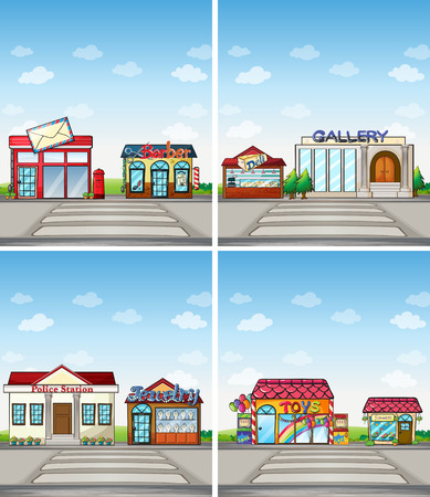 police station: Many shops in the city Illustration