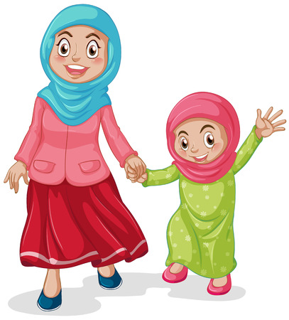 child praying: Muslim family mother and daughter Illustration