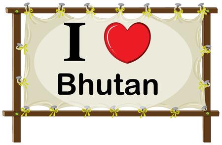 bhutan: I love Bhutan in wooden frame