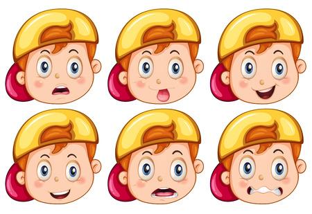 Niño con las expresiones faciales Foto de archivo - 37447399