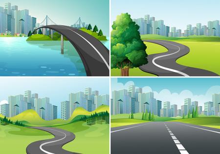 都市への道路の 4 つのシーン