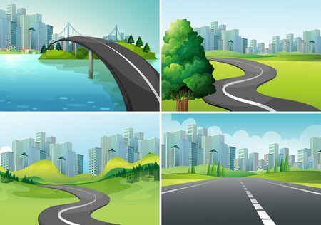 city: Cuatro escenas de carreteras a la ciudad Vectores