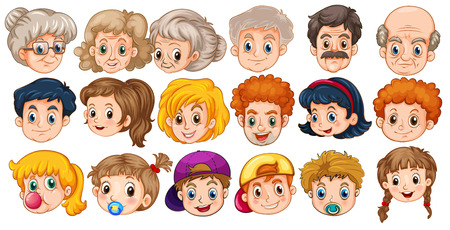 Many faces of people in different ages
