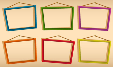 yellow photo: Six wooden frames hanging on the wall Illustration
