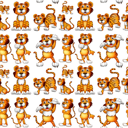 Seamless tiger in different positions