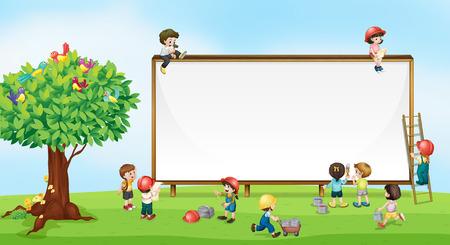 niño trepando: Niños jugando en el jardín Vectores