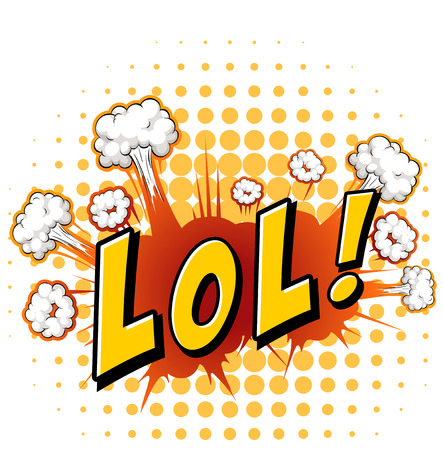 lol: LOL expression with cloud explosion background Illustration