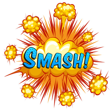 slang: Word smash with cloud explosion background