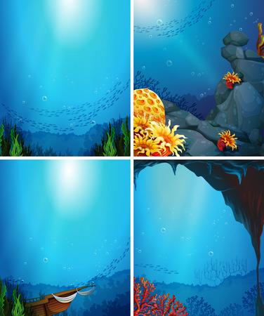 arrecife: Cuatro escenas bajo el agua con peces y los arrecifes de coral