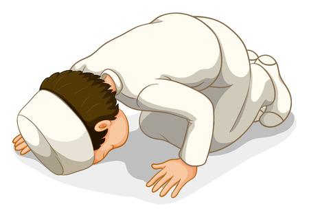 muslim pray: Male muslim in white costume praying