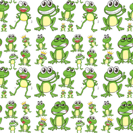 frog green: Seamless frog in many positions