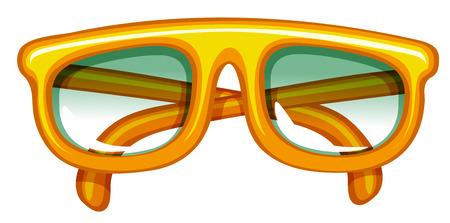 eyeglasses: Close up hipster orange eyeglasses Illustration