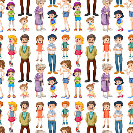 white family: Seamless family members in different ages