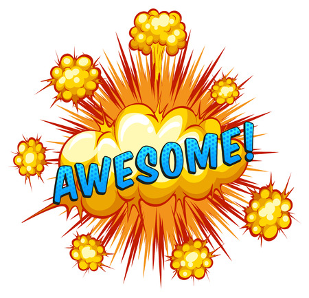Word awesome with cloud explosion background Vector