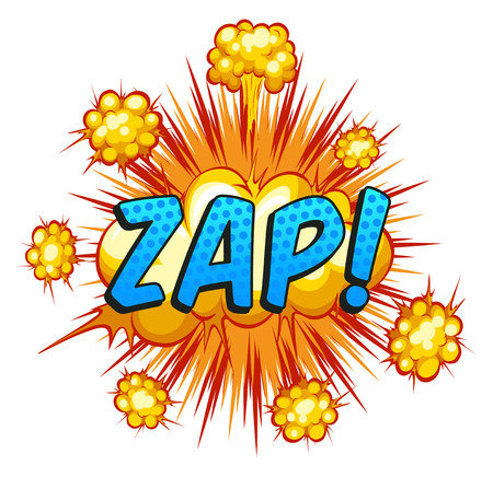 zap: Word zap with cloud explosion background