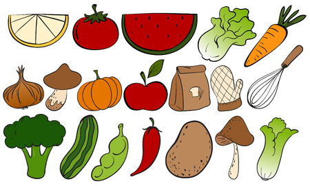 Different kind of fruits and vegetables 일러스트