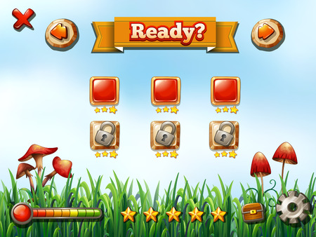 button grass: Computer game template with nature background